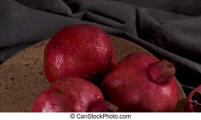Ripe pomegranate and seeds - Ripe pomegranate fruit and...