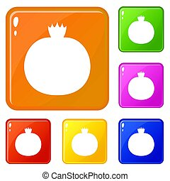 Ripe pomegranate icons set color