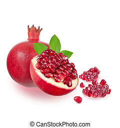 Ripe pomegranate on white background
