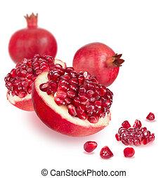 Ripe pomegranate on white background