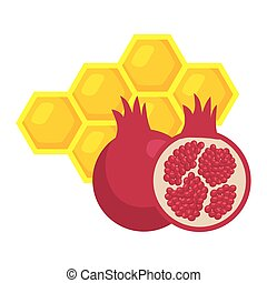 ripe pomegranate with honeycomb bee, on white background