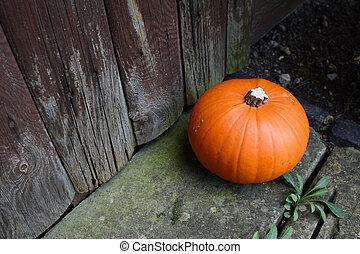 Ripe pumpkin by a weathered door
