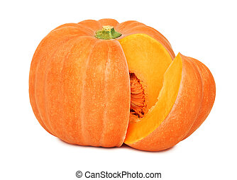 Ripe pumpkin with slice (isolated)