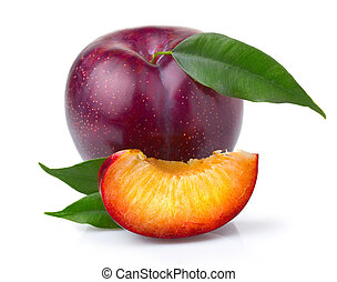Ripe purple plum fruits with green leaves isolated on white background