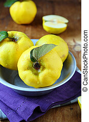 ripe quince in a bowl