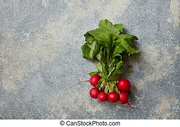 Ripe radish with leaves