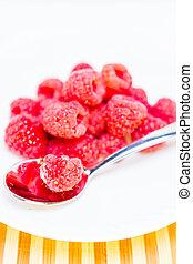 Ripe Raspberries on Plate