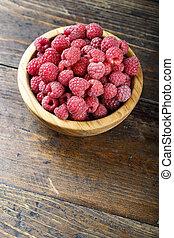 ripe raspberries on the table