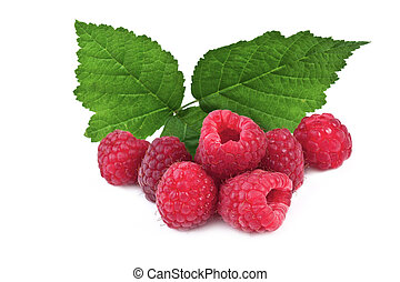 ripe raspberries with leaves isolated on white background
