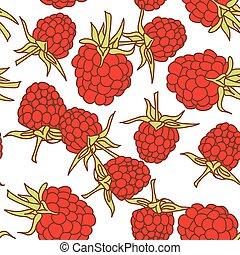ripe raspberry seamless pettern  isolated on white background.