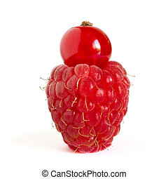 Ripe Raspberry with Red Currant on Top Isolated on the White Background