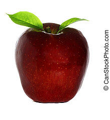 Ripe red and fresh apple with a leafe close-up. Isolated on ...