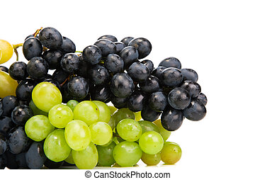 Ripe red and green grapes isolated on white