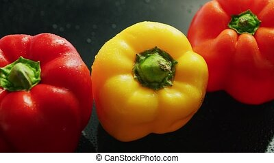 Ripe red and yellow peppers - From above view of fresh red...