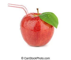 Ripe red apple juice on a white background