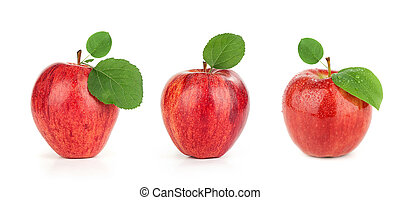 Ripe red apple with leaf