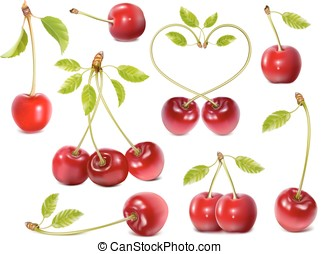 Ripe red cherries with leaves