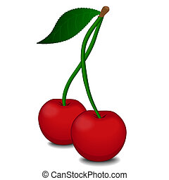 Ripe red cherry berries with green leaves isolated on white...