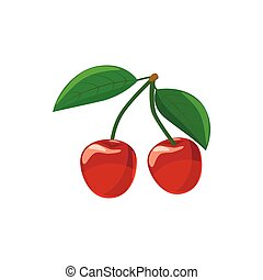 Ripe red cherry berries with icon, cartoon style