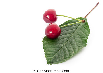 Ripe red cherry isolated