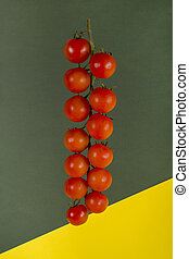 Ripe Red Cherry Tomatoes on Colored Background