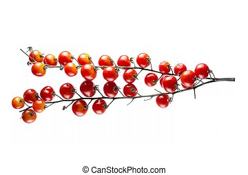 Ripe Red Cherry Tomatoes on White Background