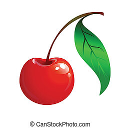 ripe red cherry with a green leaf on a white background