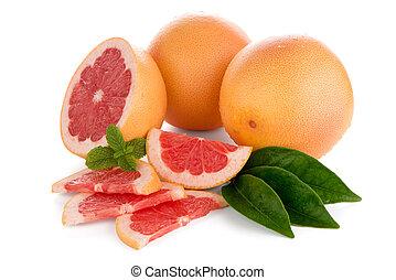 Ripe red grapefruit isolated on white background