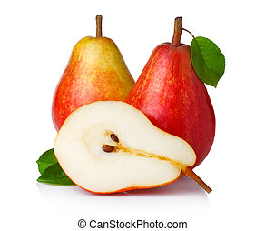 Ripe red pear fruits with green leaves isolated