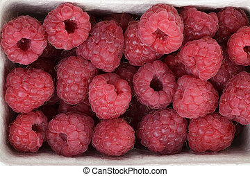 ripe red raspberries background