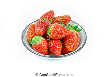 Ripe red strawberries in iron bowl on white background