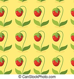Ripe red strawberries with green leaves seamless pattern. Vector background of berries. Hilarious vintage ornament for fabrics.