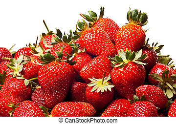 red strawberries - ripe red strawberries with stems and...