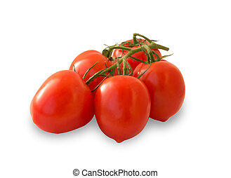 Ripe red tomatoes with leaves, isolated