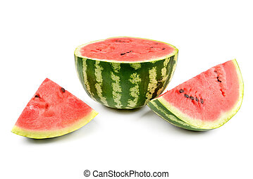 Ripe round watermelon and half a berry isolated on white . -...