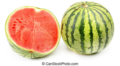 Ripe round watermelon and half berry isolated on white...