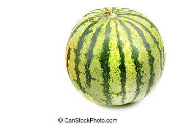 round watermelon isolated on white background. Free space...