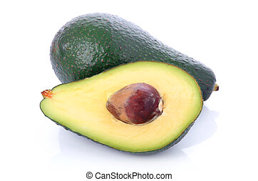 Ripe sliced avocado fruits isolated