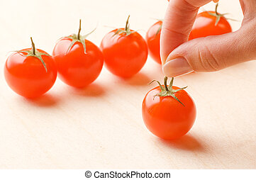 Ripe small tomatoes