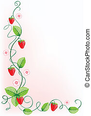 Ripe strawberries and green leaves with flowers . Vector...