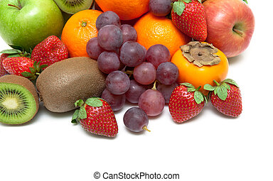 ripe strawberries and other fruits closeup on a white background