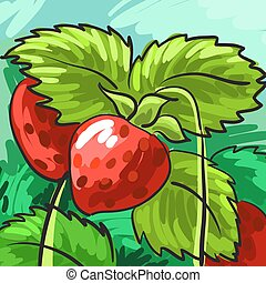 Ripe strawberries on a green background for your design. Card. Vector