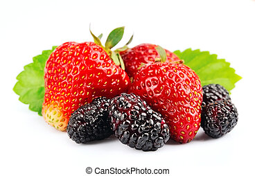 Ripe strawberry and mulberry