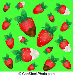 Ripe strawberry in chocolate and cream on a green background