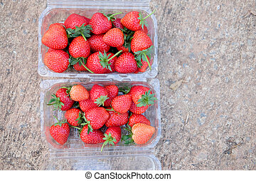 Ripe strawberry in plastic box