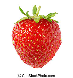 Nice ripe strawberry on pure white background