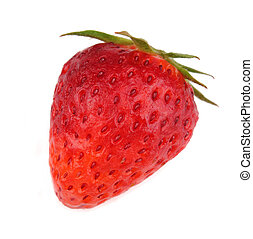 Ripe strawberry on a whit background