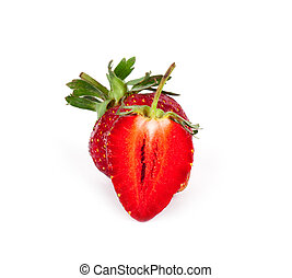 Ripe strawberry on a white background