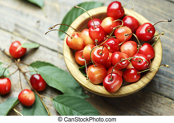 ripe sweet cherry in a plate