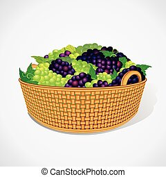 Ripe Sweet Grapes in Woven Basket. Vector Ready for Your Design.